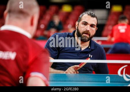 Tokyo, Giappone. 25 ago 2021. Tokyo Paralimpic Games 2020, 25 agosto: Ping pong, Tokyo, Giappone. COPOLA Gabriel, Argentina Credit: Marco Ciccolella/Alamy Live News