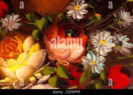 Chiusura di frammento di pittura ad olio raffigurante la vita morta di fiori in vaso. Pittura di impasto macro.