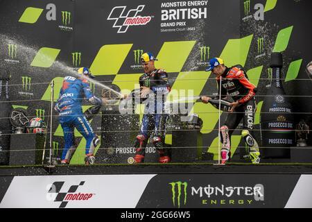 Silverstone Circuit, Silverstone, Northamptonshire, Regno Unito. 29 agosto 2021. MotoGP Gran Premio di Gran Bretagna, Race Day; il podio champagne Credit: Action Plus Sports/Alamy Live News
