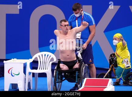 Aliaksei Talai in Bulgaria prima dell'inizio della corsa al seno da 50 m - SB2 al Tokyo Aquatics Center durante il giorno sette dei Giochi Paralimpici di Tokyo 2020 in Giappone. Data foto: Martedì 31 agosto 2021.