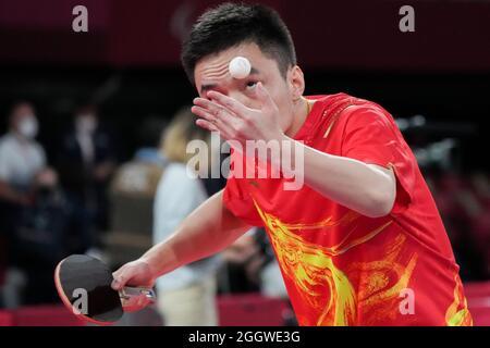 Tokyo, Giappone. 3 settembre 2021. Zhao Yiqing della Cina compete durante il ping pong maschile squadra finale di Classe 9-10 al Tokyo 2020 Paralympic Games a Tokyo, Giappone, 3 settembre 2021. Credit: Yuyuyuyuyuyuyuyuyuyuyuyuyuyuyuy