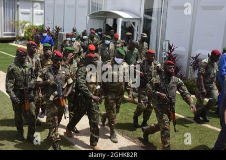 Conakry. 7 Settembre 2021. I membri delle forze speciali della Guinea si trovano a Conakry, Guinea, 6 settembre 2021. Credit: Xinhua/Alamy Live News