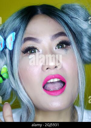 Make up e bellezza sparare di Asian Girl.