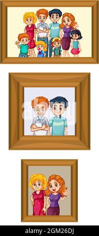 Set di foto di famiglia felice sull'illustrazione della cornice di legno
