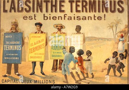 Francia, Doubs, poster pubblicitario absinthe in Pontarlier museum Foto Stock
