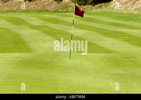 Green, fairway e il pin al Royal Liverpool Golf Foto Stock