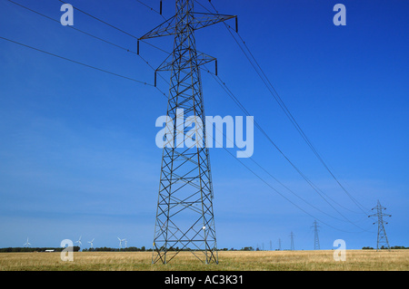 Torre idraulica elettricità linee che portano a un gruppo di turbine eoliche in un campo piano Foto Stock