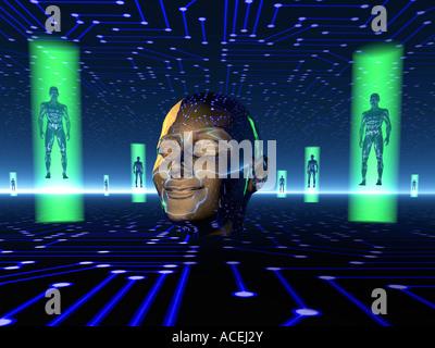 La vita artificiale a 3D'Immagine concettuale. Foto Stock