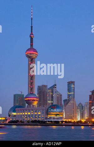 Lo Skyline di Pudong, Shanghai, Cina Foto Stock