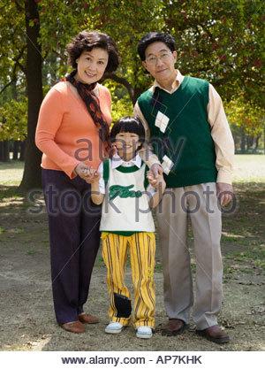Ritratto di nonni con il nipote Foto Stock