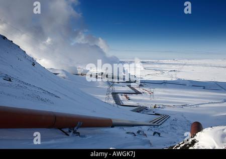 Impianto di energia geotermica in Hellisheidi Islanda Foto Stock