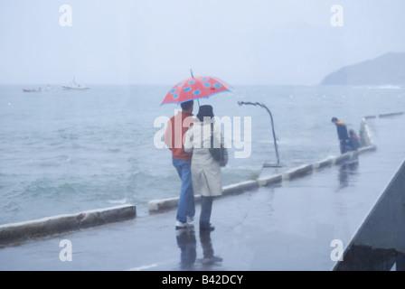 Vista attraverso la finestra del giovane camminando a braccetto con ombrello sul lungomare sotto la pioggia Foto Stock