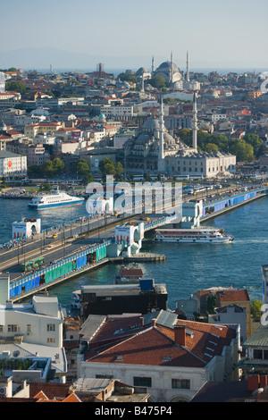 E il Ponte di Galata e Hagia Sophia Foto Stock
