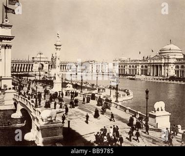 Corte d onore e bacino centrale del Columbian Exposition Chicago 1893. Albertype (foto). Foto Stock