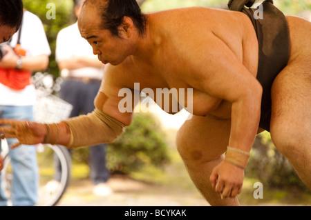 Lottatori di Sumo del Minezaki Heya durante la mattina presto la formazione, Kyuka Koen (nove fiori Parco), Kuwana, Foto Stock