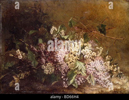 Belle arti, Scholderer, Otto (1834 - 1902), pittura, 'Stillife di lilla' ('Fliederstilleben'), circa 1860, Lindenau Foto Stock