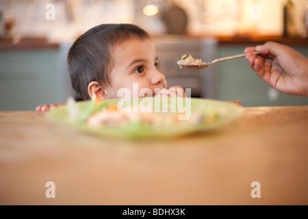 3 anno vecchio ragazzo seduto a tavola con la mano il contenimento di cibo sul cucchiaio Foto Stock