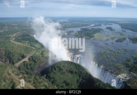 Vista aerea di Victoria Falls, Zimbabwe Foto Stock