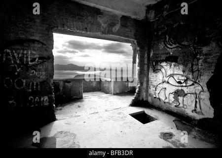Edificio abbandonato, Cap Formentor, Mallorca Foto Stock