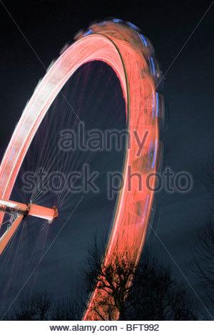 Fiera ruota di notte Foto Stock