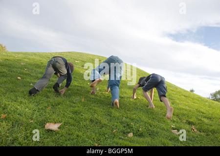 Tre ragazzi avente una gara si inerpica su per una collina erbosa a carponi Foto Stock