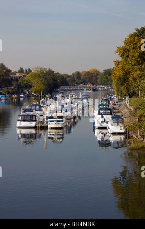 Ormeggiate barche sul Fiume Tamigi a serratura Moseley vicino a Hampton Court, Surrey, Inghilterra Foto Stock