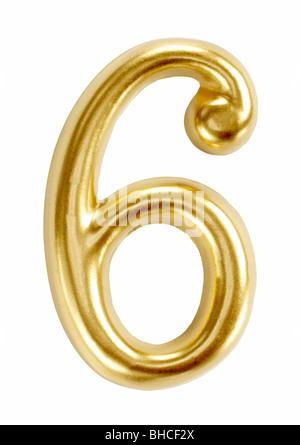 I numeri di numero sei 6 figura simbolo cifra Foto Stock