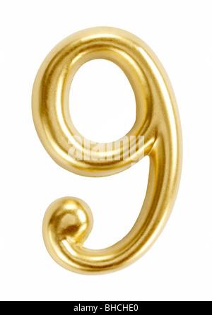 Numero nove numeri 9 simbolo figura cifra Foto Stock