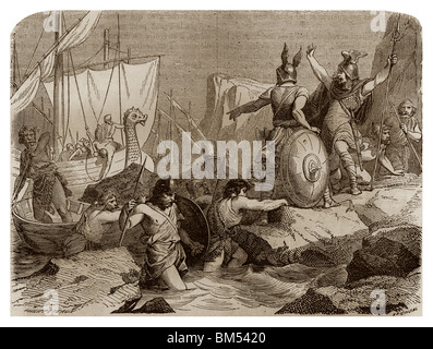 Verso 810, Vichinghi è venuto per insegnare a lungo le coste della Frisia (Germania). Foto Stock