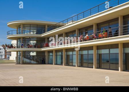 Architettura esterna dettagli del De La Warr Pavilion, Stroud, East Sussex, Inghilterra, Regno Unito, GB, Unione Foto Stock