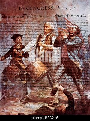 Montaggio della pittura di ARCHIBALD M. WILLARD DI SPIRITO DI '76 e la dichiarazione di indipendenza Foto Stock