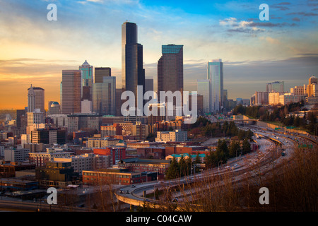 Seattle skyline da Rizal Park Foto Stock