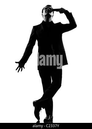 Silhouette caucasian business man disperazione comportamento suicida a lunghezza piena su studio isolato sfondo Foto Stock