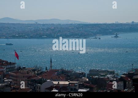 Vista su Asia da Europa, Istanbul, Turchia Foto Stock