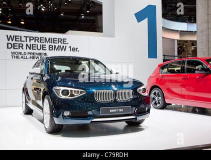 Nuova BMW 118i della IAA 2011 International Motor Show di Francoforte am Main, Germania Foto Stock