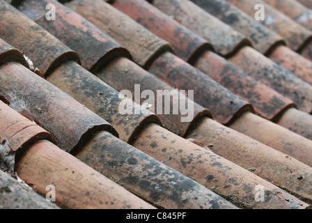 Vecchio rosso e arancione tegole del tetto Foto Stock