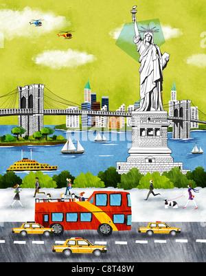 Stati Uniti d'America, New York New York City, la Statua della Libertà un bridge Foto Stock