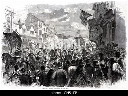 Lady Godiva processione attraverso Coventry incisione Vittoriano datato 5 luglio 1862 Foto Stock