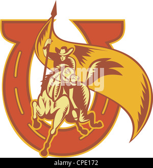Illustrazione di un rodeo cowboy a cavallo portante una bandiera con il ferro di cavallo fatto rétro xilografia Foto Stock