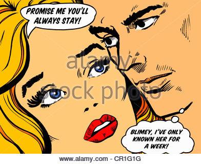 Close-up di coppia di facce parlando in fumetti di impegno Foto Stock