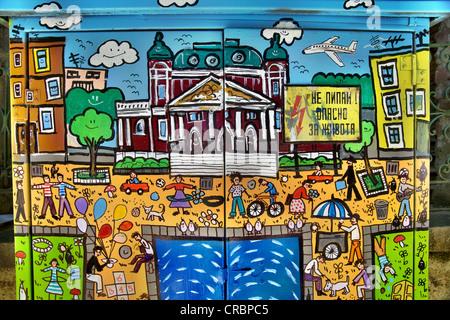 Scene di Sofia i graffiti sulla casella di elettricità in Sofia Bulgaria Foto Stock