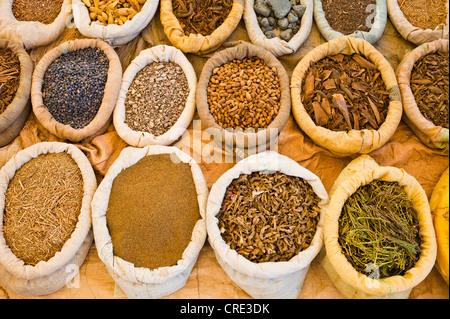 Le spezie in sacchetti sono in vendita presso il mercato o souk, sud del Marocco, Africa Foto Stock