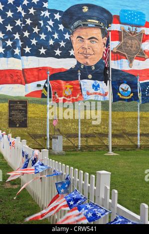 Memoriale di un caporale della marina militare ucciso in battaglia, ricevuto Congressional Medal of Honor, Shenandoah, Foto Stock