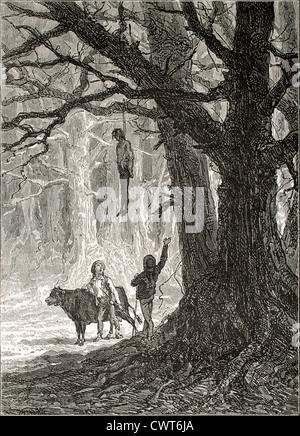 Due ragazzi guardando appeso a una foresta Foto Stock