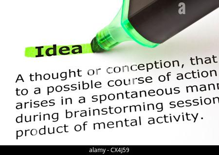 Definizione della parola Idea evidenziato in verde con pennarello Foto Stock