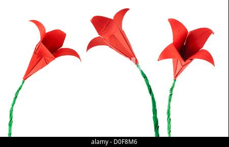 Fiore rosso bianco origami isolato. La carta fatta di fiori. Foto Stock