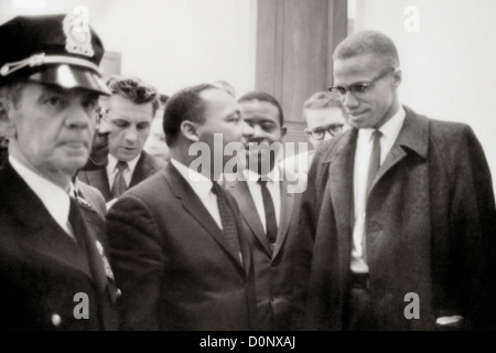 Malcolm X e Martin Luther King Foto Stock