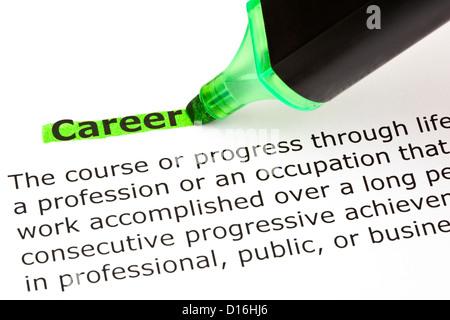 Definizione della carriera di parola evidenziata in verde con il pennarello Foto Stock
