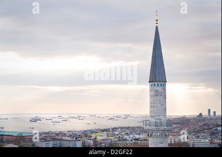 Turchia, Istanbul: dalla Moschea Suleymaniye in Sultanahmet si ha un incredibile 360 gradi vista. Foto Stock