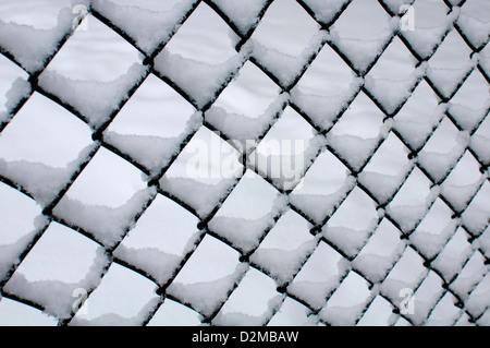 Catena-link scherma con neve sul Foto Stock